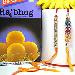 Rakhi pair with Haldiram Rajbhog /></a></div><div class=