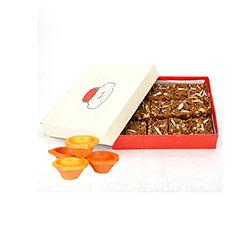 1 kg Doda Barfi & Diyas - Diwali Gifts