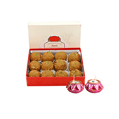 1 kg Besan Laddoo & Diyas - Diwali Gifts