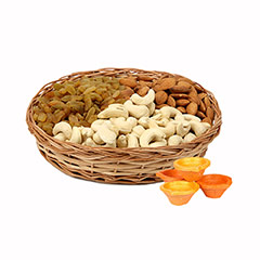 Dry Fruits Basket & Diyas - Diwali Gifts