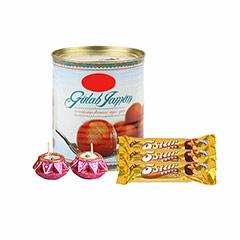 Gulab Jamun, Chocolates & Diya - Diwali Gifts