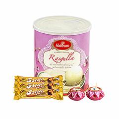 Rasgulla, Chocolates & Diya - Diwali Gifts