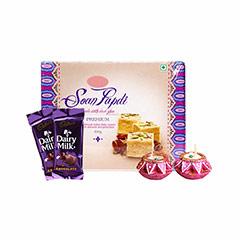 Soan Papdi, Chocolates & Diyas - Diwali Gifts