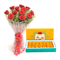 Diwali gifts to india buy send diwali gift online diwali roses motichoor laddu diwali gifts negle Choice Image