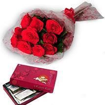 Half Kg Kaju Barfi & Roses - Diwali Gifts