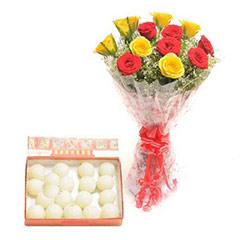 1 Kg Rasgulla & Bouquet - Diwali Gifts