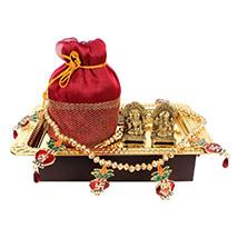 Golden Tray with Deity