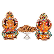 Lakshmi Ganesh Idol & Dry Fruits Platter