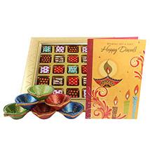 Ethnic Diyas, Chocolate & Card