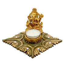 Golden Ganesha Tea Light Holder