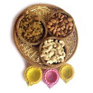 Dryfruit Basket With Colourful Diyas