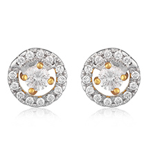 Classic Circle Gold Plated Stud Earrings for Women