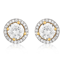 Classic Round Gold Plated Stud Earrings for Women