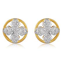 Round Flower Gold Plated Stud Earrings for Women
