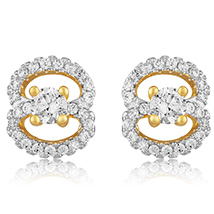 Budding Floral Gold Plated Stud Earrings for Women