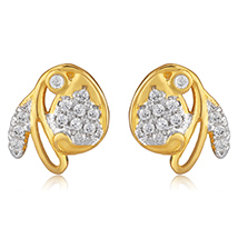 Floral Angel Gold Plated Stud Earrings for Women