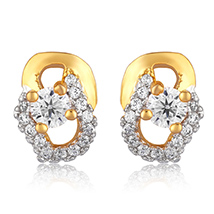 Floral Arc Gold Plated Stud Earrings for Women