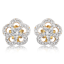Classic Flower Gold Plated Stud Earrings for Women