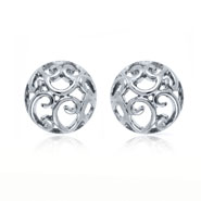 Mahi Rhodium plated Curl Round Huggies Earring for Women