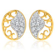 Mahi Gold Plated Oval love Earring with CZ for Women