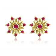 Mahi Gold plated Floral Stud Earring with Ruby for Women