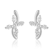 Mahi Endearing Rhodium Plated Curve Earrings