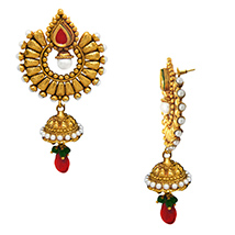 Traditional Ethnic Red Green Drop Gold Plated Dangler Earrings with Crystals for Women by Donna