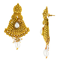 Traditional Ethnic White Floral Pearl Gold Plated Dangler Earrings for Women by Donna