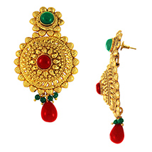 Traditional Ethnic Red Green Diva Gold Plated Dangler Earrings with Crystals for Women by Donna