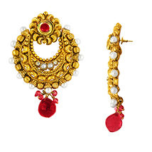 Traditional Ethnic Red Sun Gold Plated Dangler Earrings with Crystals for Women by Donna