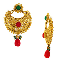 Traditional Ethnic Red Green Festive Gold Plated Dangler Earrings with Crystals for Women by Donna