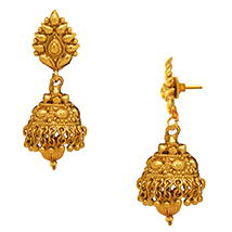 Traditional Ethnic Pure Floral Gold Plated Dangler Earrings for Women by Donna