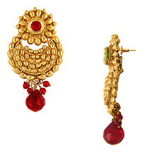 Traditional Ethnic Red Flower Gold Plated Dangler Earrings with Crystals for Women by Donna