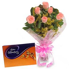 Pink Roses N Chocolates