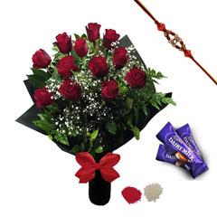Rakhi with Roses and Chocolates