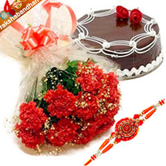 Rakhi with Carnation n Cake