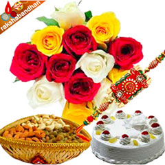 Rakhi with flower, cake and dryfruits