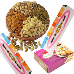 Rakhi with Soan Papdi And Dry fruits