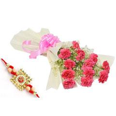 Pink Carnation with Rakhi