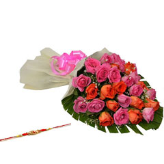 Orange and Pink Roses with Rakhi