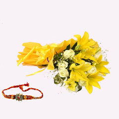 Yellow Lilies and Roses with Rakhi