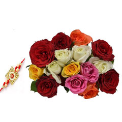 Mixed Color Roses with Rakhi