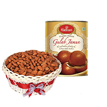 Diwali with almonds and Gulab Jamun
