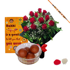 Rakhi with Roses, Gulab Jamun and Greeting Card /></a></div><div class=