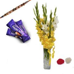 Rakhi with Glads and Chocolates