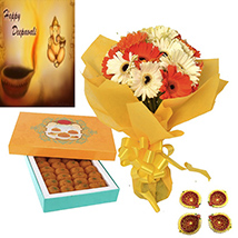 Diwali with Gerberas and Laddu