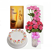 Diwali with Rose, Carnation and Cake