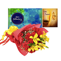 Rakhi with Lilies, carnations and celebrations
