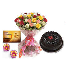 Diwali with Roses and cake