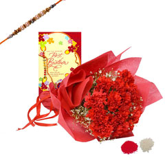 Rakhi with Carnations and Greeting card